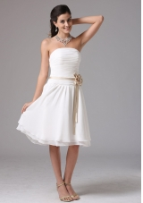 White Empire Strapless Bridesmaid Dress Ruched Knee-length