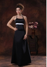 Halter Taffeta Black Column Floor-length Bridesmaid Dress