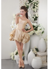Spaghetti Straps Champagne Short Taffeta Bridesmaid Dress