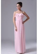 Halter Baby Pink Chiffon Column Bridesmaid Dress Ruched