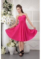 Hot Pink Empire Knee-length Taffeta Bridesmaid Dress