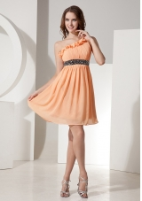 One Shoulder Orange Chiffon Bridesmaid Dress Mini-length