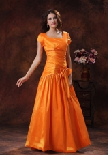 Cap Sleeves Orange Mother Of The Bride Dress Square Neckline