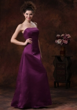 Dark Purple Strapless Satin Floor-length Bridesmaid Dress