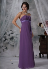 Purple Chiffon Bridesmaid Dress Floor-length Ruched Strapless