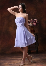 Lilac Short Strapless Chiffon Bridesmaid Dress Ruched
