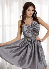 Gray Strapless Bow Short Taffeta Prom Cocoktail Dress