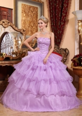 Lilac Ruffled Layers Beading Dress for Quinceanera