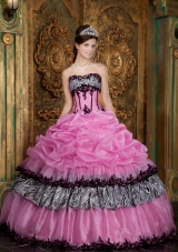 Sweet 16 Dress Rose Pink Zebra Ball Gown Picks-Up