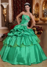 Green Ball Gown Quince Dress Pick-ups Appliques