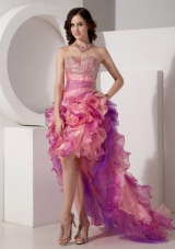 Pretty Multi-color Prom Dress Hi-lo Beading Ruffles