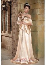 With Wrap One-shoulder Taffeta Prom Dress in Champagne