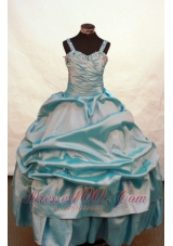 Blue Pageant Dresses Beading Ruching With Straps