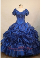 Luxurious V-neck Short Sleeves Pageant Dress Royal Blue