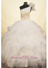 Beading Exquisite One Shoulder White Pageant Dresses