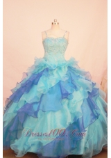 Colorful Ruffles Gorgeous Pageant Dress Spaghetti Straps