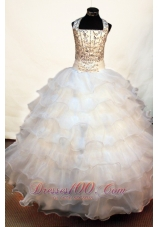 Halter Beading Pageant Dress Bow White Layers