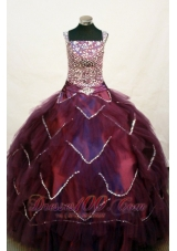Beading Layers Straps Burgundy Pageant Dress
