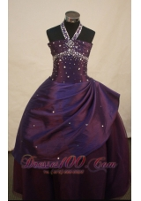 Halter Beading Dark Purple Pageant Dress Discount