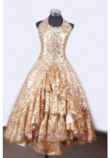 Shining Golden Halter Ruffled Little Girl Pageant Dresses