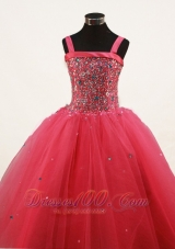 Coral Red Little Girl Pageant Dresses With Beading and Straps
