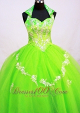 Spring Green Halter Top Little Girl Pageant Dresses