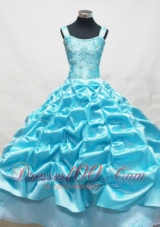 Blue Little Girl Pageant Dresses With Appliques and Pick-ups