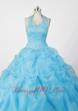 Halter Baby Blue Appliques Little Girl Pageant Dresses