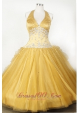 Halter V-neck Appliques Pageant Dresses for Little Girl