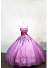 Appliques Plum Purple Little Girl Pageant Dresses Straps