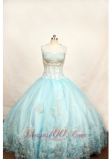 Gingle Border Light Blue Little Girl Dresses for Pageants