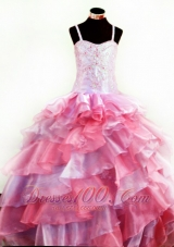 Colorful Ruffles Pageant Girls Dresses Beaded Appliques