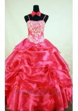 Pick up Coral Red Pageant Dresses Handmade Flowers Bow