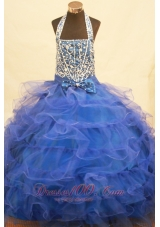 Halter Top Bowknot Blue Miss Pageant Dresses Beading