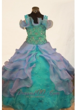 Green and Purple Straps Ball Gown for Pageants Beaded