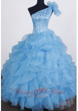 One Shoulder Embroidery Aqua Blue Pageant Gowns Ruffles