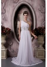 Custom Empire One Shoulder Beading Wedding Dress