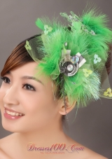Feather Spring Green Rhinestone Headpiece for Quinceanera