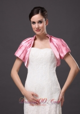 High-neck Rose Pink Short Sleeves Jacket Pleats