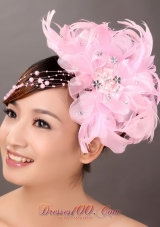 Beautiful Feather Pink Wedding Fascinators Crystal