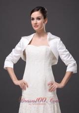 White Satin 3/4 Sleeves Jacket for Popular