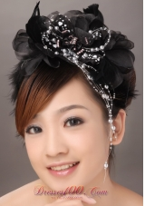 Modest Black Fascinators With silver Pearls