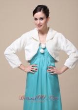 Fold-over Collar Faux Fur Ivory Wedding Jacket