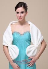 Faux Fur V-neck Wedding Shawl Ivory With Bow