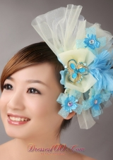 Blue Feather Yellow Net Flower Headpiece With Crystal