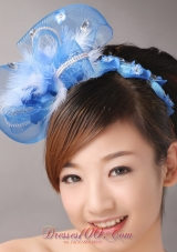 Blue Net and Feather Flower Hair Combs for Popular