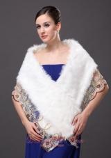 Faux Fur Stylish White Wrap Shawls Lace V-Neck