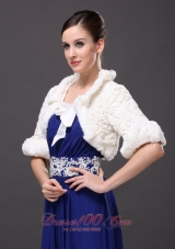 Fold-over Collar Jacket 1/2 Sleeves Faux Fur Bowknot