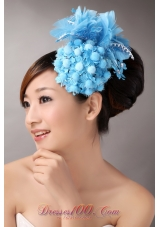 Blue Feather Headflower for Party With Beading