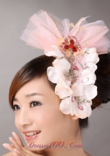 Beading Flowers Baby Headpiece Pink Tulle Organza